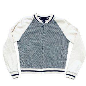 Gap Kids Grey and Cream Knit Bomber Jacket